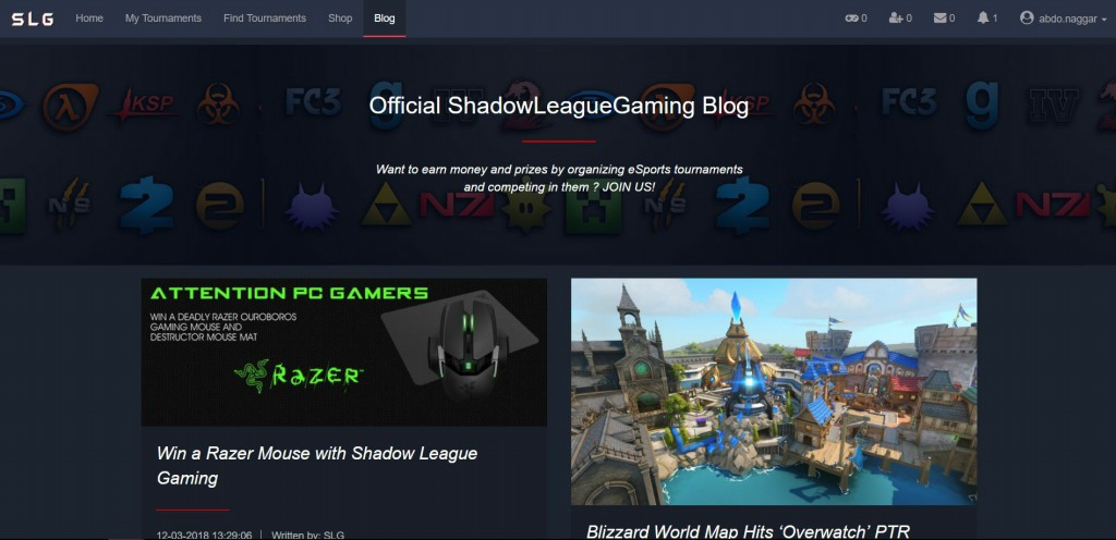Shadow League Gaming blog page